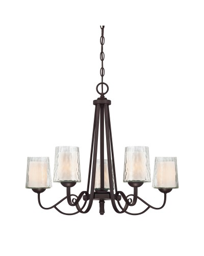 Elstead Lighting Quoizel Adonis 5 Light Chandelier In Dark Cherry Finish With Double Glass Shades