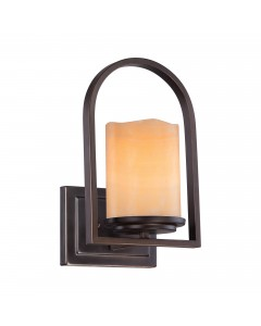 Elstead Lighting Quoizel Aldora 1 Light Wall Light In Palladian Bronze Finish With Yellow Onyx Stone Shade