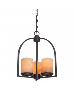 Elstead Lighting Quoizel Aldora 3 Light Pendant In Palladian Bronze Finish With Yellow Onyx Stone Shades