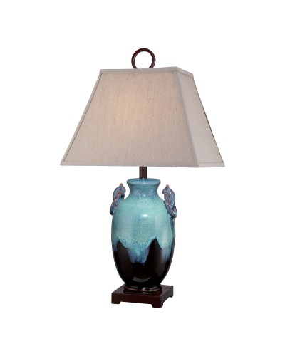 Elstead Lighting Quoizel Amphora Ceramic Turquoise & Brown Table Lamp With Slubbed Sand Linen Softback Shade