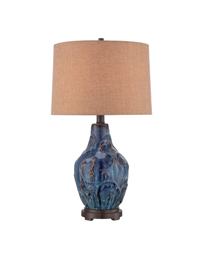 Elstead Lighting Quoizel Bluefield Ceramic Blue Table Lamp With Brown Hardback Fabric Shade