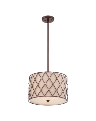 Elstead Lighting Quoizel Brown Lattice 3 Light Medium Pendant In Copper Canyon Finish With Height Adjustable Rods