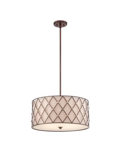 Elstead Lighting Quoizel Brown Lattice 4 Light Large Pendant In Copper Canyon Finish With Height Adjustable Rods