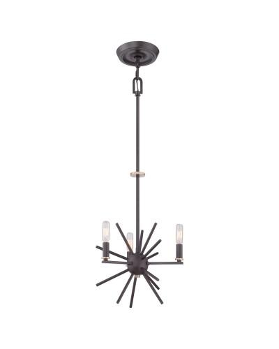 Elstead Lighting Quoizel Carnegie 3 Light Chandelier In Western Bronze Finish With Height Adjustable Rods