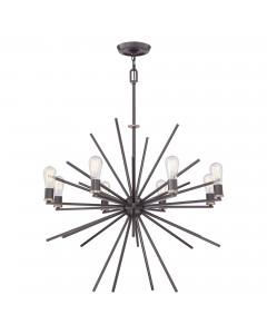 Elstead Lighting Quoizel Carnegie 8 Light Chandelier In Western Bronze Finish With Height Adjustable Rods