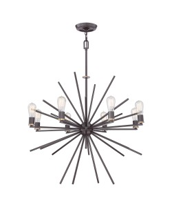 Elstead Lighting Quoizel Carnegie 8 Light Chandelier In Western Bronze Finish With Height Adjustable Rods