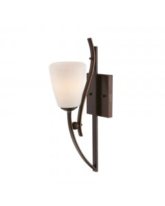 Elstead Lighting Quoizel Chantilly 1 Light Wall Light In Palladian Bronze Finish With Opal Glass Shade