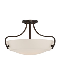 Elstead Lighting Quoizel Chantilly 3 Light Semi-Flush Ceiling Light In Palladian Bronze Finish With Opal Glass Shade
