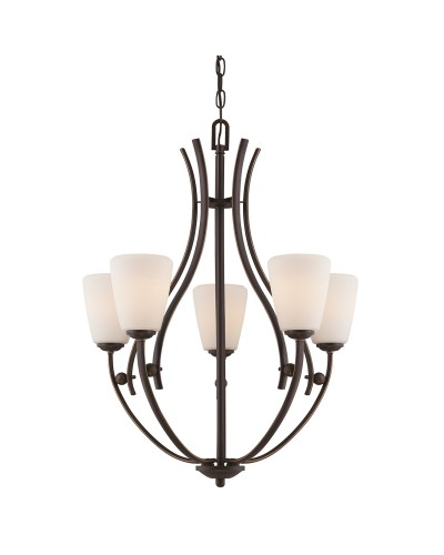 Elstead Lighting Quoizel Chantilly 5 Light Chandelier In Palladian Bronze Finish With Opal Glass Shades
