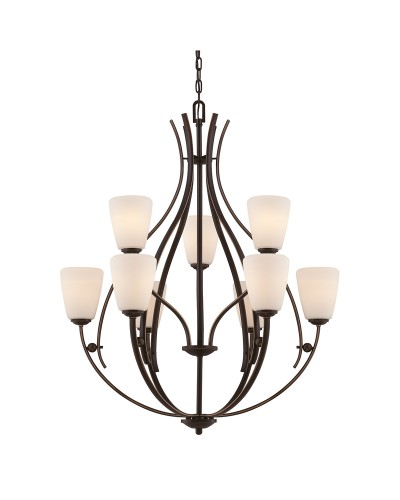 Elstead Lighting Quoizel Chantilly 9 Light Chandelier In Palladian Bronze Finish With Opal Glass Shades
