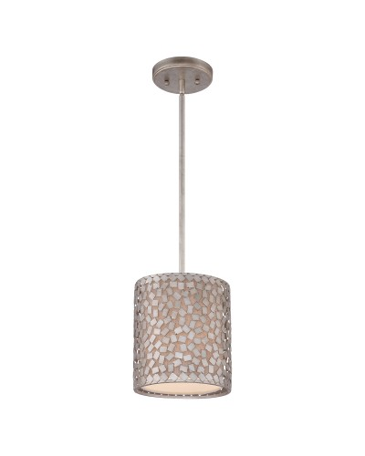 Elstead Lighting Quoizel Confetti 1 Light Mini Pendant In Old Silver Finish With Height Adjustable Rods