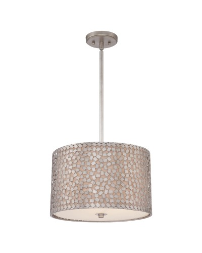 Elstead Lighting Quoizel Confetti 3 Light Medium Pendant In Old Silver Finish With Height Adjustable Rods