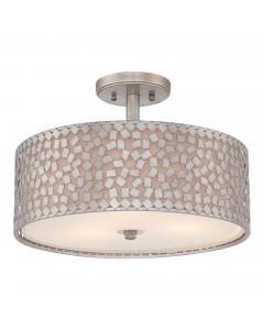 Elstead Lighting Quoizel Confetti 3 Light Semi-Flush Ceiling Light In Old Silver Finish