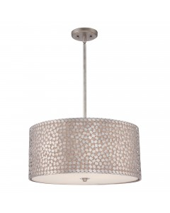 Elstead Lighting Quoizel Confetti 4 Light Large Pendant In Old Silver Finish With Height Adjustable Rods