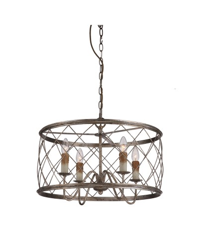 Elstead Lighting Quoizel Dury 4 Light Pendant Chandelier In Century Silver Leaf Finish
