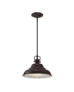 Elstead Lighting Quoizel Eastvale 1 Light Large Pendant In Palladian Bronze Finish With Height Adjustable Rods
