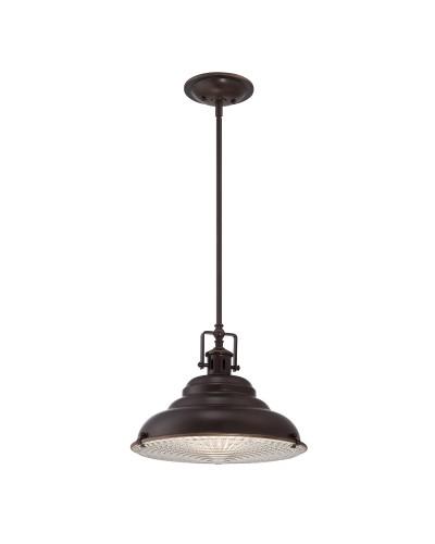 Elstead Lighting Quoizel Eastvale 1 Light Large Pendant In Palladian Bronze Finish With Height Adjustable Rods