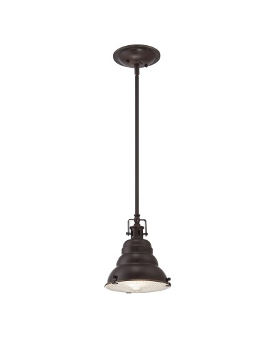 Elstead Lighting Quoizel Eastvale 1 Light Mini Pendant In Palladian Bronze Finish With Height Adjustable Rods