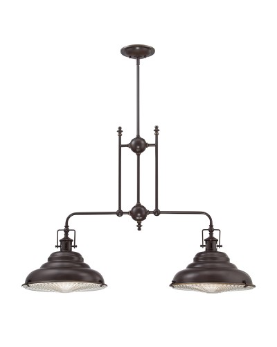 Elstead Lighting Quoizel Eastvale 2 Light Island Pendant In Palladian Bronze Finish With Height Adjustable Rods