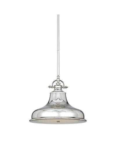 Elstead Lighting Quoizel Emery 1 Light Medium Pendant In Imperial Silver Finish With 4 Height Adjustable Rods