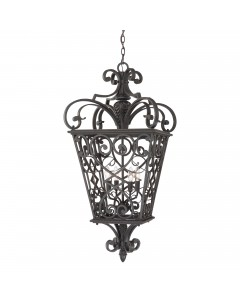 Elstead Lighting Quoizel Fort Quinn 4 Light Chain Lantern In Marcado Black Finish