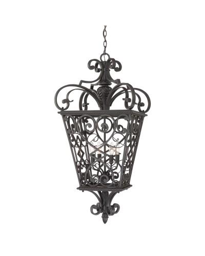 Elstead Lighting Quoizel Fort Quinn 4 Light Chain Lantern In Marcado Black Finish