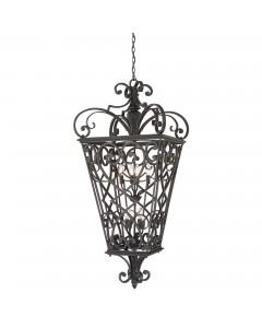 Elstead Lighting Quoizel Fort Quinn 8 Light Chain Lantern In Marcado Black Finish