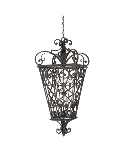 Elstead Lighting Quoizel Fort Quinn 8 Light Chain Lantern In Marcado Black Finish
