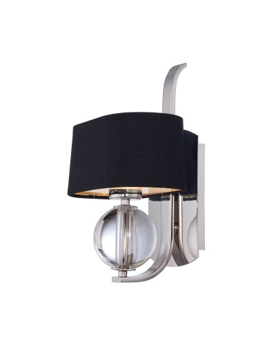 Elstead Lighting Quoizel Gotham 1 Light Wall Light In Imperial Silver Finish With Black Shade