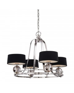 Elstead Lighting Quoizel Gotham 4 Light Chandelier In Imperial Silver Finish With Black Shades