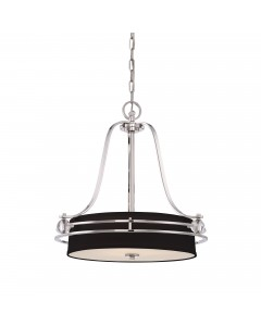 Elstead Lighting Quoizel Gotham 4 Light Pendant In Imperial Silver Finish With Black Shade