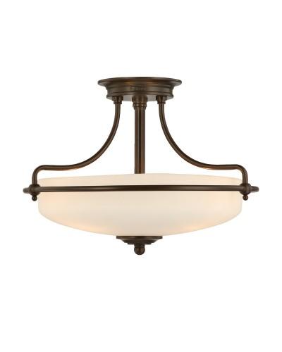 Elstead Lighting Quoizel Griffin Small 3 Light Semi-Flush Ceiling Light In Palladian Bronze Finish