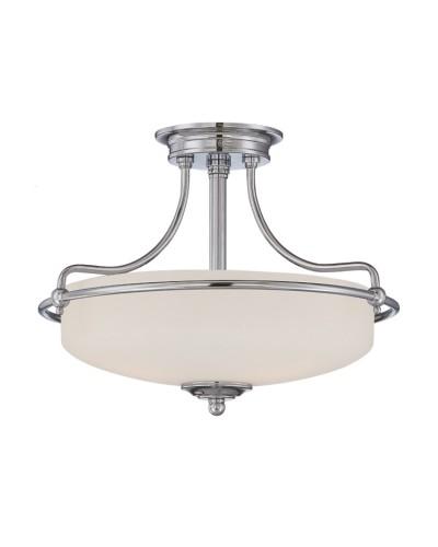 Elstead Lighting Quoizel Griffin Small 3 Light Semi-Flush Ceiling Light In Polished Chrome Finish