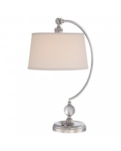 Elstead Lighting Quoizel Jenkins 1 Light Table Lamp In Polished Nickel Finish With Cream Linen Hardback Shade