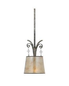 Elstead Lighting Quoizel Kendra 1 Light Pendant In Mottled Silver Leaf Finish With a Pearly Mica Shade And Height Adjustable Rods