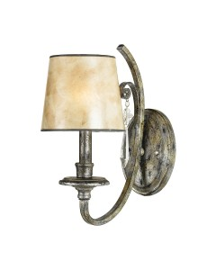 Elstead Lighting Quoizel Kendra 1 Light Wall Light In Mottled Silver Leaf Finish With a Pearly Mica Shade