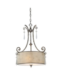 Elstead Lighting Quoizel Kendra 2 Light Pendant In Mottled Silver Leaf Finish With a Pearly Mica Shade
