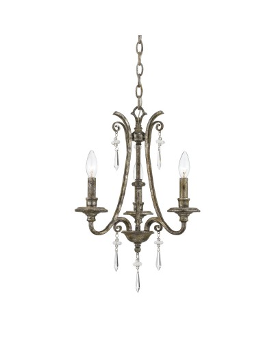 Elstead Lighting Quoizel Kendra 3 Light Chandelier In Mottled Silver Leaf Finish