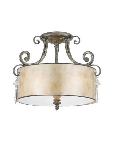Elstead Lighting Quoizel Kendra 3 Light Semi-Flush Ceiling Light In Mottled Silver Leaf Finish With a Pearly Mica Shade