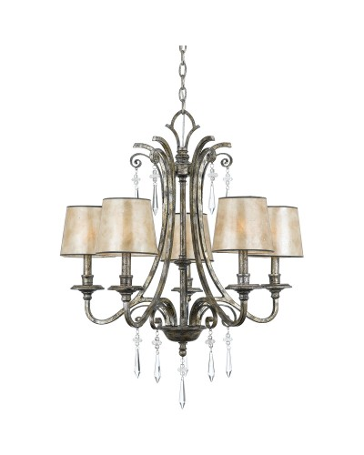 Elstead Lighting Quoizel Kendra 5 Light Chandelier In Mottled Silver Leaf Finish With Pearly Mica Shades