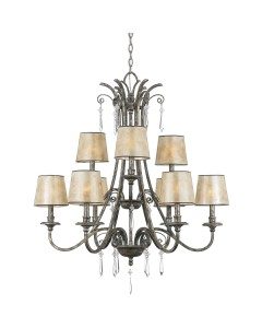 Elstead Lighting Quoizel Kendra 9 Light Chandelier In Mottled Silver Leaf Finish With Pearly Mica Shades