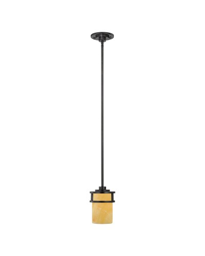 Elstead Lighting Quoizel Kyle 1 Light Mini Pendant In Imperial Bronze Finish With Butterscotch Onyx Shade & Height Adjustable Rods