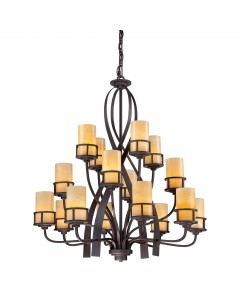 Elstead Lighting Quoizel Kyle 16 Light Chandelier In Imperial Bronze Finish With Butterscotch Onyx Shades