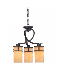 Elstead Lighting Quoizel Kyle 3 Light Dinette Chandelier In Imperial Bronze Finish With Butterscotch Onyx Shades