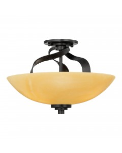 Elstead Lighting Quoizel Kyle 3 Light Semi-Flush Ceiling Light In Imperial Bronze Finish With Butterscotch Onyx Shade