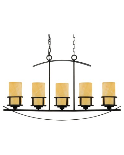 Elstead Lighting Quoizel Kyle 5 Light Island Pendant In Imperial Bronze Finish With Butterscotch Onyx Shades