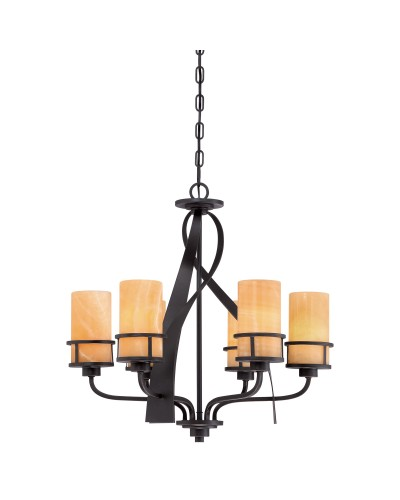 Elstead Lighting Quoizel Kyle 6 Light Chandelier In Imperial Bronze Finish With Butterscotch Onyx Shades
