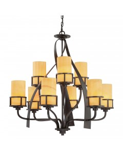 Elstead Lighting Quoizel Kyle 9 Light Chandelier In Imperial Bronze Finish With Butterscotch Onyx Shades