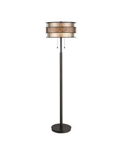 Elstead Lighting Quoizel Laguna 2 Light Floor Lamp In Renaissance Copper Finish With Mica and Mosaic Tile Cylinder Shade