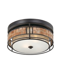 Elstead Lighting Quoizel Laguna 3 Light Large Flush Ceiling Light In Renaissance Copper Finish